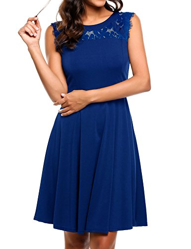 Beyove Women's A-Line Sleeveless Pleated Lace Cocktail Party Dress Blue XL