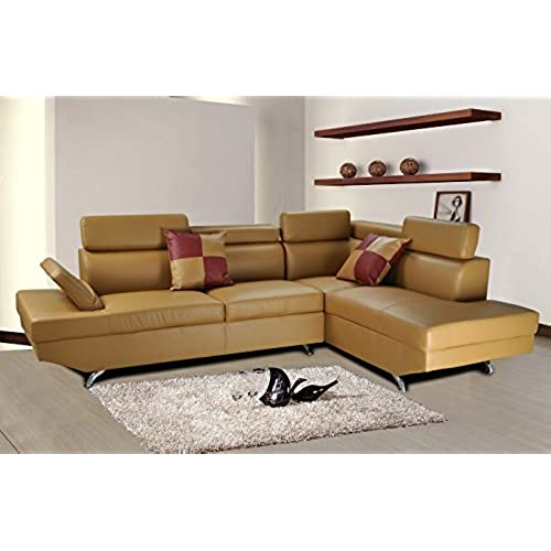 Beverly Furniture F2803B 2PC CL 2 Piece Faux Leather Sectional Sofa Set,  Left Facing, Camel