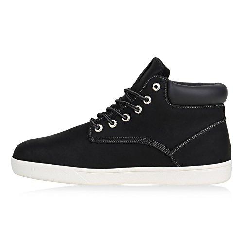 Herren Sneaker High Basic Turnschuhe Leder-Optik Schuhe Freizeitschuhe Schnürer Schnürschuhe Flandell Schwarz Basic