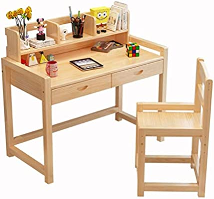 Amazon.com: Mesa de estudio y silla de madera maciza para ...