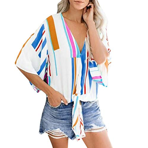 Vowes Women's Casual T Shirts Twist Knot Tunics Tops Print Cap Sleeve V Neck Tops Loose Casual Blouse Shirts