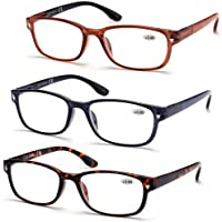 High Value Pack! 3- Pack Rectangle Reading Glasses Readers for men women w/Spring Hinges Free Pouches +2.50