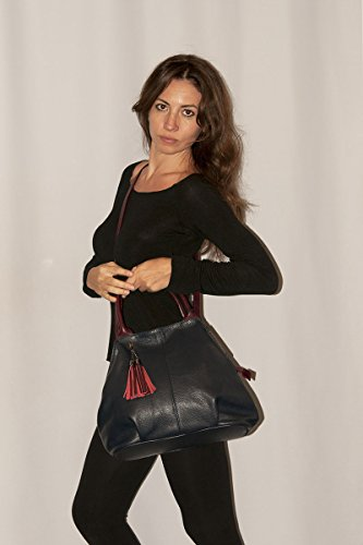 100 Leather in Night GIADA Blue Woman'S Genuine Handbag BORDERLINE Made Italy ZFdF1q