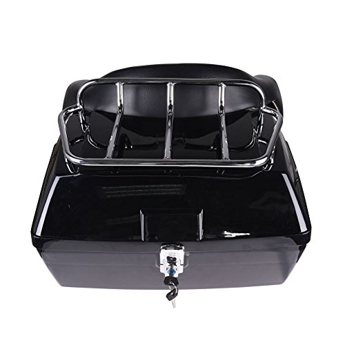 F2C Motorcycle Trunk Luggage Tour Travel Pack Trunk Hard Case Tail Box w//Cushion Backrest and Top Luggage Rack