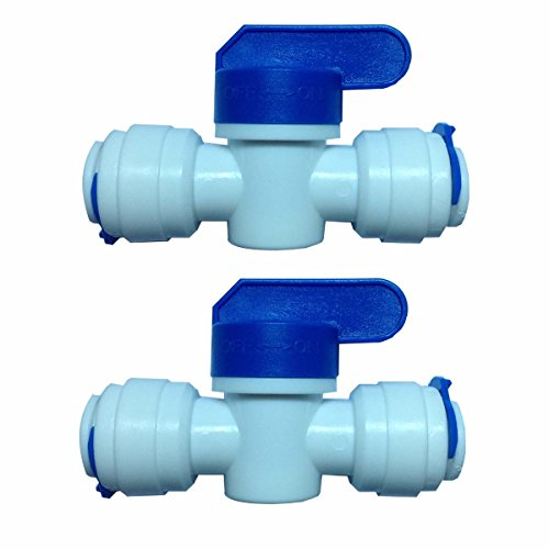 """Malida 3/8""""x3/8"""" Tube Ball Valve Quick Connect Shut Off for RO Water Purifiers Filters Reverse Osmosis Set of 2"""