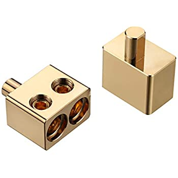 Sydien One Pair Dual Inputs 1//0 Gauge to 1//0 Gauge Car Audio Amp Input Left /& Right Brass with Chrome Finish
