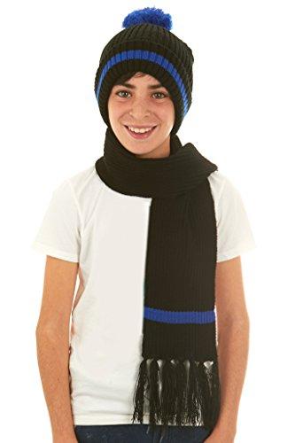 [Polar Wear Boys Hat & Scarf - Black/Royal] (Minnie Mouse Outfit Ideas)