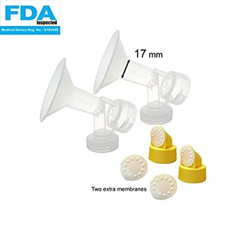2x 17 mm One-Piece Breastshieldm Extra Small w/ Valve, Membrane for Medela Breast Pumps (Pump in Style, Lactina, Symphony); Made by (Symphony Membrane)