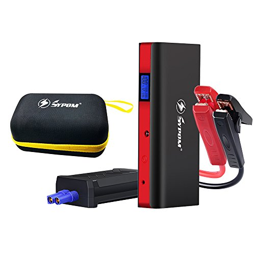 Sypom 800A Peak 18000mAh SuperSafe Car Jump Starter (Up to 7.0L Gas, 6.0L Diesel Engine) 12V Auto Battery Booster Portable Phone Charger Power Pack Built-in LED Light and Smart Protection by Sypom