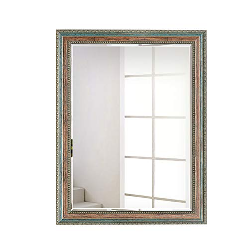European Rectangular Bathroom Mirror with Hand-Painted Wooden Frame Hanging Home Decoration Wash -