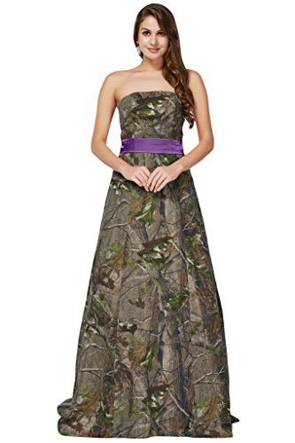 MILANO BRIDE Women's Prom Pageant Dress Maternity Gown Cheap Camo Strapless Sash-16- Camo&Purple (2)