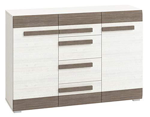 Kommode Knoxville 07, Farbe: Kiefer Weiß/Grau - Abmessungen: 97 x 138 x 42 cm (H x B x T), mit 2 Türen, 4 Schubladen und 6 Fächern