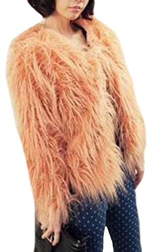Generic Women Fashion Faux Ostrich Hair Color Mixing Vintage Coat Pink M (Vintage Faux Fur Coat)