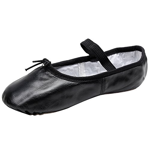 rismart Mujer Plano Resplandecer Zapatillas Muñequita Cuero Bailarinas Zapatos Negro