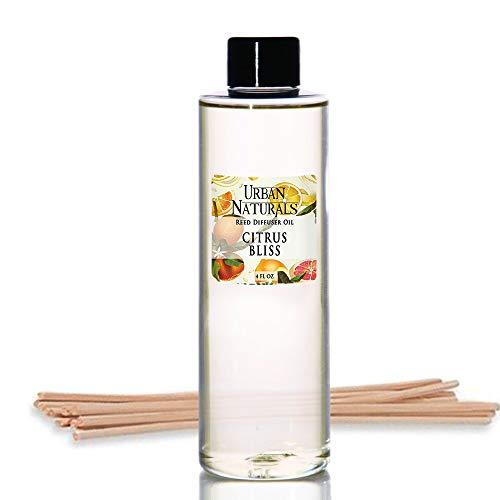 (Urban Naturals Citrus Bliss Mandarin & Grapefruit Scented Reed Diffuser Oil Refill + Replacement Reed Sticks | Fresh, Bright Citrus Scent 4 oz.)
