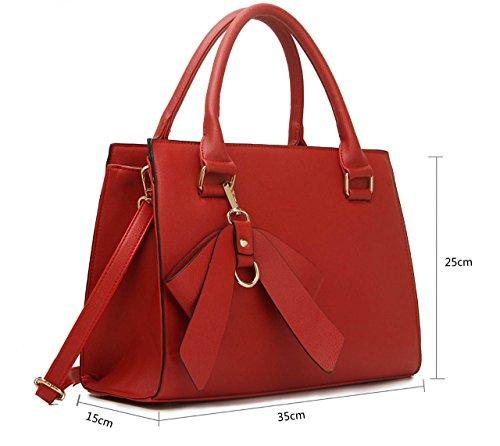 Leahward Damen Kunstleder Bow Charm Nice Great Handtaschen Tote Schultertaschen 374c 348 485 Rot Bogen Taschen