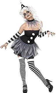 Smiffys Smiffys Halloween Disfraz de pierrot siniestro, con vestido, adornos para el cuello y