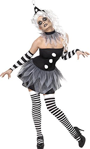 Pierrot Costume Uk (Smiffys Women's Sinister Pierrot Costume)
