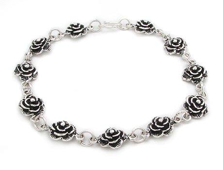 Sterling Silver Rose Bracelet - Sterling Silver Wild Roses 7.25