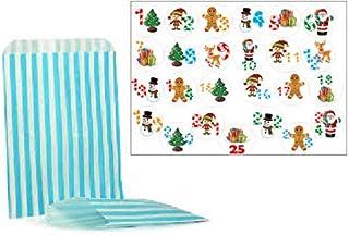 Floordrobe Clothing 25 Christmas Advent Calendar Stickers & 25 Striped Bags (Aqua Blue Striped)