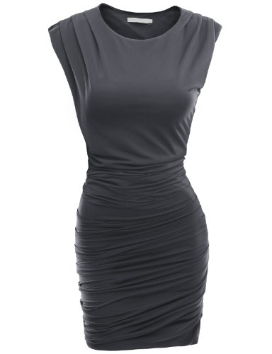 Doublju Work clothes for women Sirring Detailed Stretch Fabric Dress Plus Size CHARCOAL (US M)