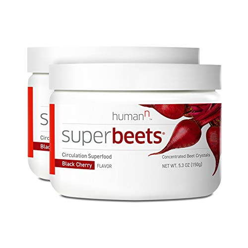 HumanN SuperBeets Circulation Superfood Concentrated Beet Powder Nitric Oxide Boosting Supplement (Black Cherry Flavor, 5.3-Ounce, 2-Pack)
