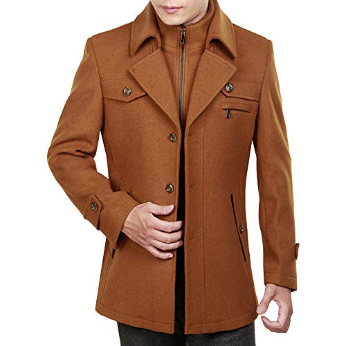 Loose Yra Brown2 Windbreaker Tops Business For Male Formal Coat Woolen Collar Winter Banquet Double Padded Warm Fleece Mens Dress Jacket xrrqSH0Fw