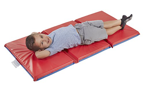 Rest Care Mats Day (ECR4Kids Premium 3-Fold Daycare Rest Mat, Blue and Red (2
