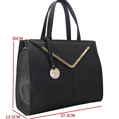 Size Handle Designer Shopper Colored Women's Faux Large Black Top Bag Multicolor Shoulder Black Fashion Girl Shopping Rigid Tote Work Leather Lady Handbag Bag School Student CRAZYCHIC xYXnaa