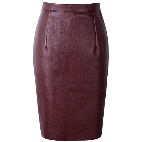TheUniqueHouse Sexy Faux Fur Leather High Waist Midi Pencil Skirts Office Wrap Bodycon Short Tutu Saia,Wine red,M (Zara Faux Leather Pencil Skirt)