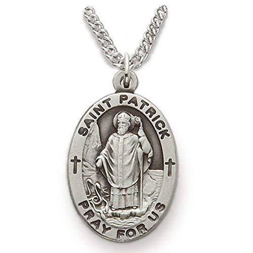 TrueFaithJewelry Sterling Silver Oval Saint Patrick Patron of Irishmen Medal, 7/8 -