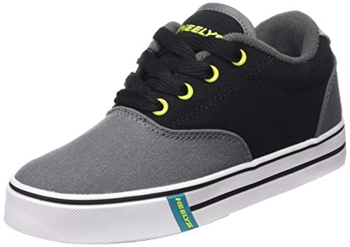 Heelys Launch Canvas Sneaker (Little Kid/Big Kid), Charcoal/Black/Lime, 8 M US Big Kid