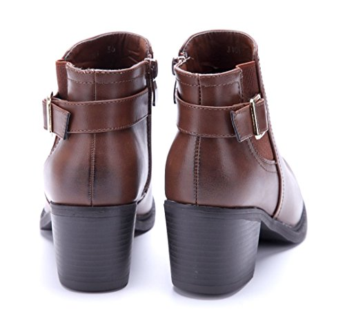 Schuhtempel24 Damen Schuhe Klassische Stiefeletten Stiefel Boots Blockabsatz Schnalle/Used Look 6 cm Camel