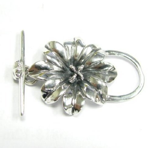 1 pc .925 Sterling Silver Focal Bead Garden Flower Toggle Clasp Bead 40mm/Findings/Antique
