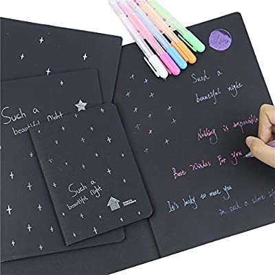 Simple 56K Black Paper Sketch Book Diary Notebook Notepad School Stationery New