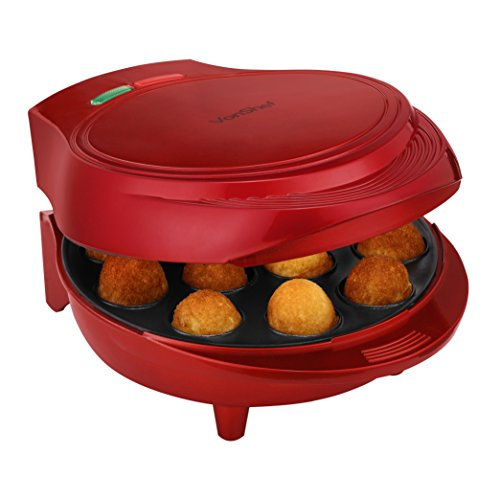 VonShef 12 Cake Pop Maker Machine Set Includes Sticks & Stand - Red ()