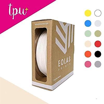 EOLAS PRINTS Premium Flexible TPU 3D Printer Filament, Beige Color RAL 1013, 1.75 mm, Dimensional Accuracy +/- 0.05 mm, 1 kg (2.2 lb) ABS Spool with Resealable Bag