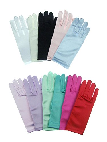 Children's Wrist Length Stretch Satin Gloves - Lavender For Ages 0 - 3 ()