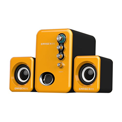 EARISE Q8 USB Powered 2.1 Stereo Computer Speakers with Subwoofer Orange
