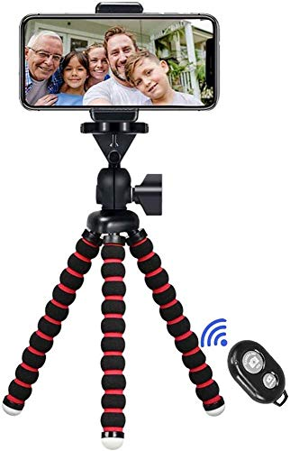 Phone Tripod, 7.48 inch Travel Portable and Adjustable Camera Stand Holder with Wireless Remote and Universal Clip for iPhone, Android Phone, Camera, Sports Camera GoPro