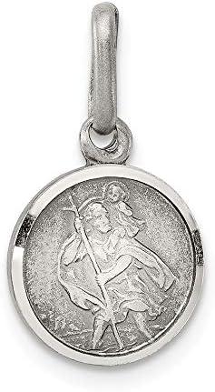 Argent Sterling 925 Solide Saint Christopher petit pendentif rond 3,2 gr 18mm nouveau