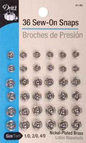 Great Features Of Dritz(R) Sew-On Snaps Nickel-Asst Size 1/0 2/0 4/0