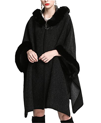 Women Luxury Bridal Faux Fur Shawl Wraps Long Cloak Coat Sweater Cape With Fur Hooded (Black)