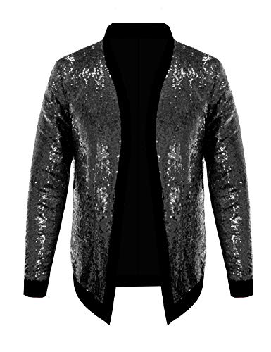 (Pacinoble Mens Cardigan Sparkle Sequin Open Front Coat Long Sleeve Bomber Jacket with Ribbed Cuffs (Black S))