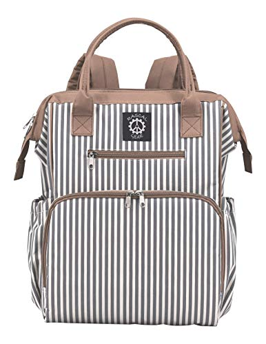 Rascal Gear Striped Baby Diaper Bag Backpack, Tote, Shoulder or Cross Body with Insulated Bottle Pockets, Stroller Straps, Changing Pad (Multicolored)