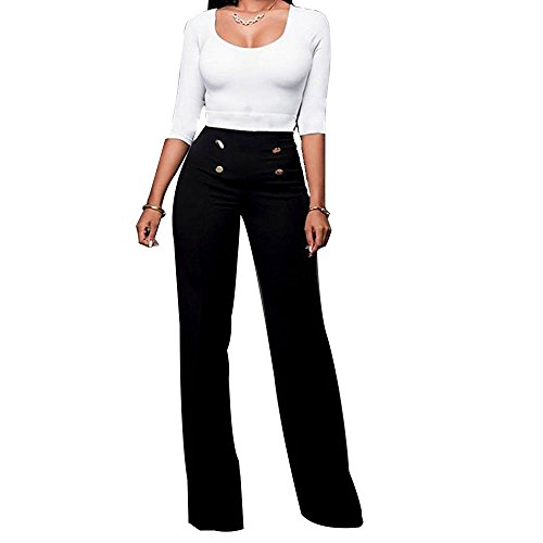 (Women's Stretchy High Waisted Long Pants Wide Leg Sailor Bell Button Down Pants )