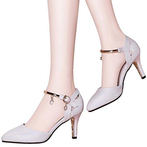 102 À Des Sandales Hauts De Fine De Talons Chaussures Fentes EU33 Permettant UK1 Femmes SHOESHAOGE Pointe qZHw0I1If