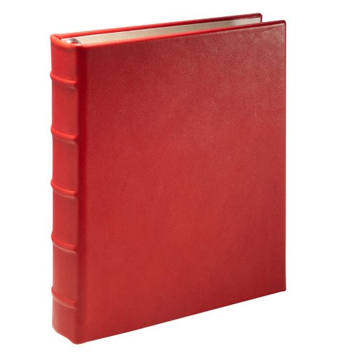 Desk Address Book, Ring Binder, Genuine Calfskin Leather, 1,500 Entries, Red by Graphic Image
