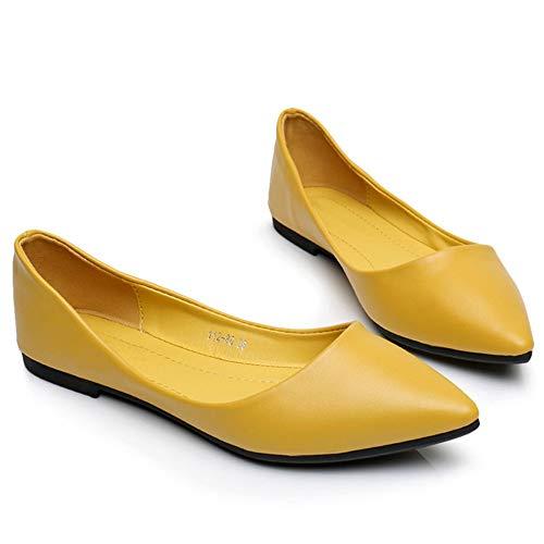 FLYRCX Zapatos Acentuados de la Manera de la Manera de la Comodidad Casual Color Caramelo Zapatos Planos Zapatos Solos Zapatos Poco Profundos Zapatos de Trabajo de Oficina E