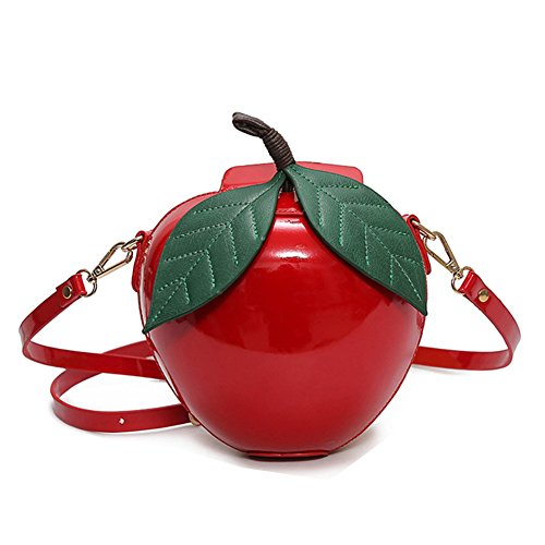Women Novelty Crossbody Bag Funky Purse Cute Apple Bag (Apple Red Handbag)